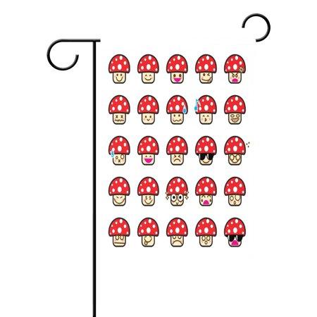 POPCreation Emoji Collection Of Difference Emoticon Mushroom Cartoon Polyester Garden Flag Outdoor Flag Home Party Garden Decor 28x40 inches - Checkered Flag Emoji