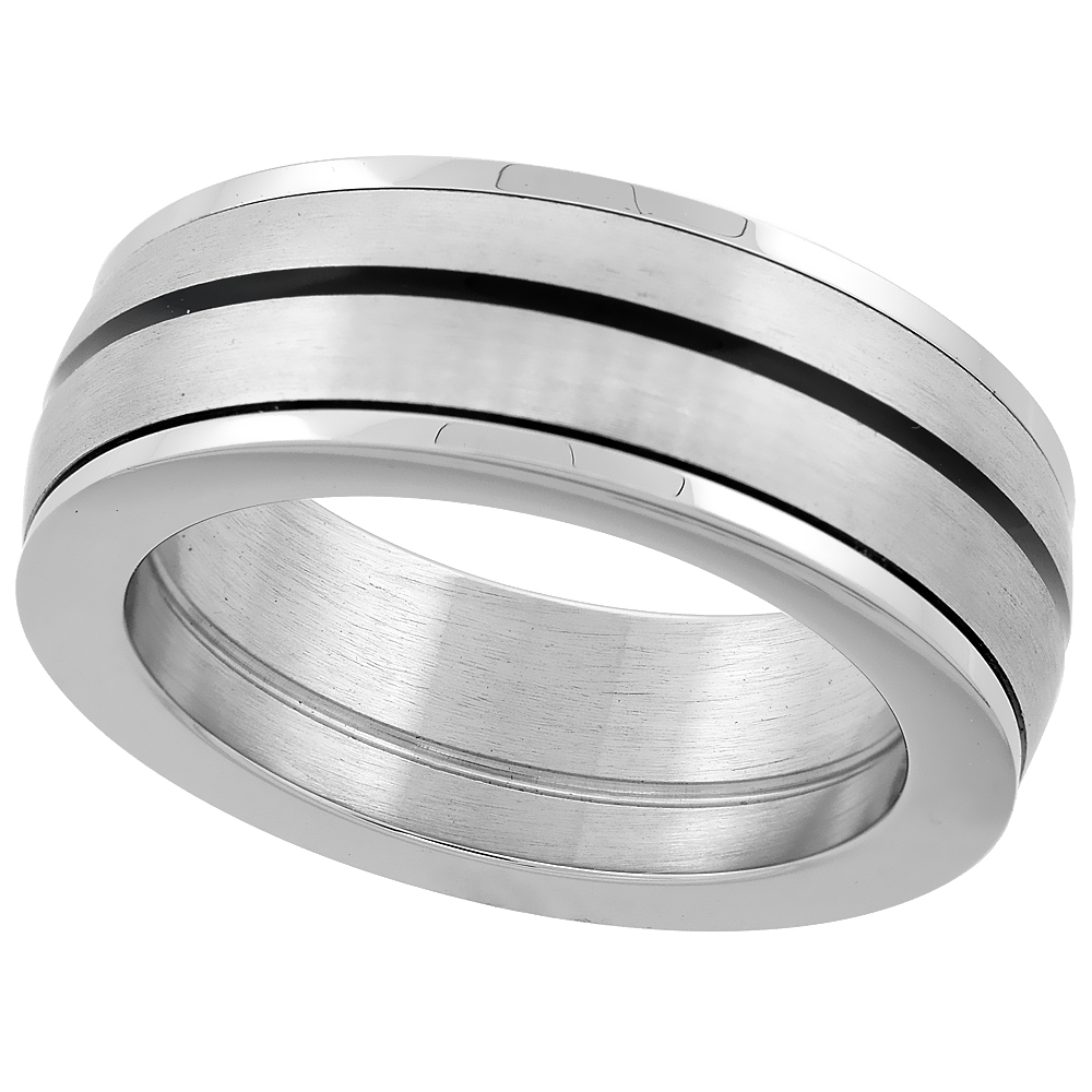 Surgical Steel Black Stripe Beveled Edges Wedding Band Ring 8mm wide Domed, sizes 8 - 14 with half sizes