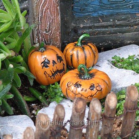 Miniature Pumpkins, Set of 3 for Miniature Garden, Fairy Garden