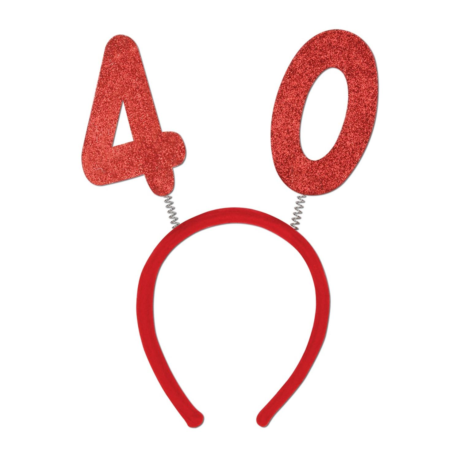 """Club Pack of 12 Red """"40"""" Glittered Bopper Headband Birthday Party Favors"""