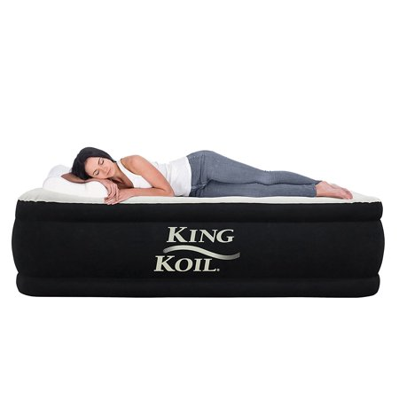 King Koil Twin Size Upgraded Luxury Raised Air Mattress Best Inflatable Airbed with Built-in Pump - Elevated Raised Air Mattress Quilt Top & ONLY Bed with 1-Year Guarantee (Best Rated Air Mattress With Pump)