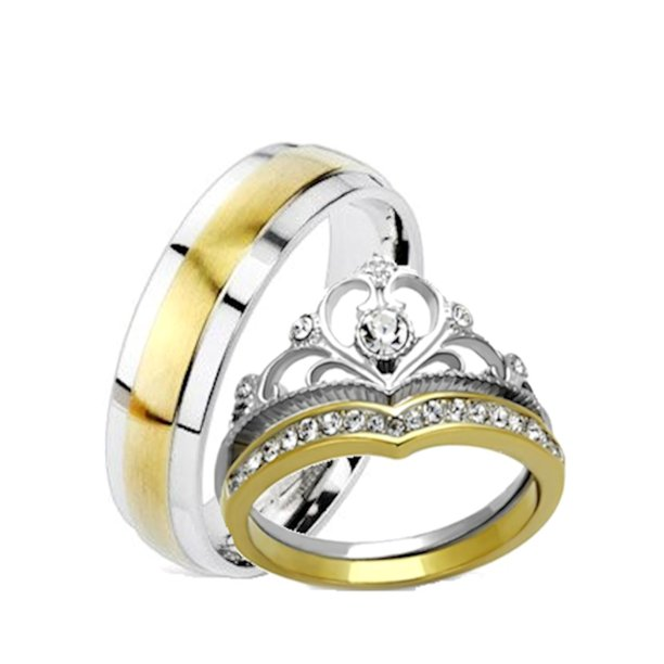 Edwin Earls His And Hers Wedding Rings 3 Pc Yellow Gold Ip Crown