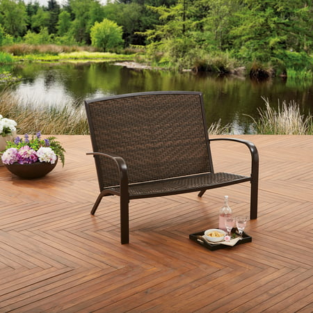 Better Homes and Gardens Wicker Adirondack Outdoor Bench ()