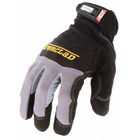 Ironclad Anti-Vibration Gloves, Microsuede Palm Material, Black, 1