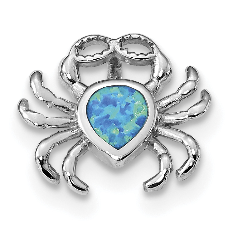 925 Sterling Silver Blue Inlay Created Opal Crab Slide Necklace Pendant Charm Omega Sea Life Lobster