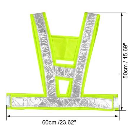 Reflective Mesh Design Security Vests for Jogging Traffic Safety Green - image 2 de 3