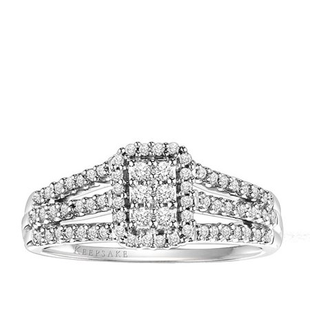 Keepsake Carnation 1/3 Carat T.W. Diamond Sterling Silver Engagement Ring