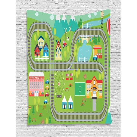 Kid's Activity Tapestry, Train Tracks with Colorful Town School City Mall and Amusement Park Fair, Wall Hanging for Bedroom Living Room Dorm Decor, 40W X 60L Inches, Multicolor, by (Fair Lakes Mall)