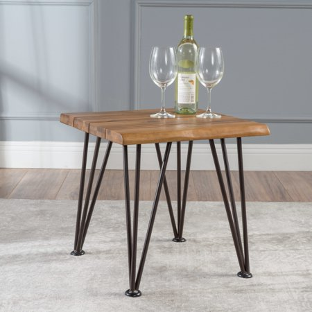 Christopher Knight Home Geania Acacia Wood Industrial Side Table (Knight Base Table)