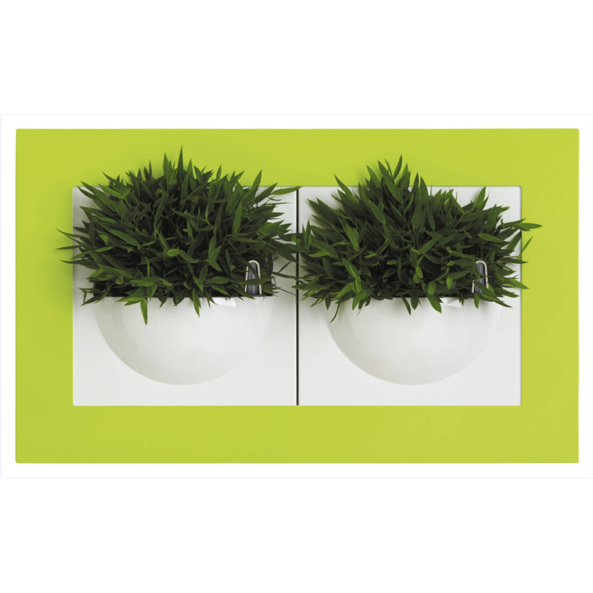 Image of Double Gallery Wall Planter, White/Lime Green