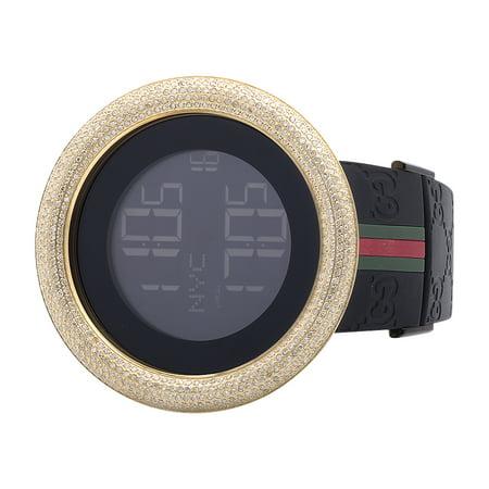 Gucci Custom New Mens I Digital Yellow Case Full Diamond Watch 7.5 Ct YA114207 (Gucci Watch Case)
