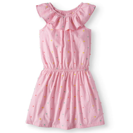 Wonder Nation Casual Ruffle Chambray Dress (Little Girls & Big Girls, Plus) - Girls Dresses Size 8 Cheap