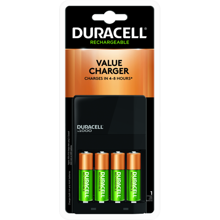 Duracell ION SPEED 1000 Rechargeable Battery Charger for AA and AAA Includes 4 AA NiMH (Best Aa Aaa Battery Charger)