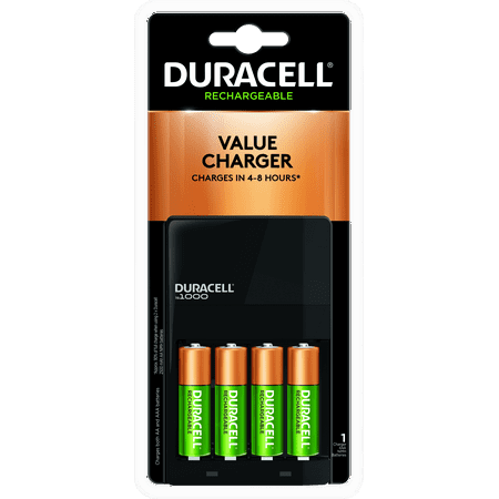 Duracell ION SPEED 1000 Rechargeable Battery Charger for AA and AAA Includes 4 AA NiMH -