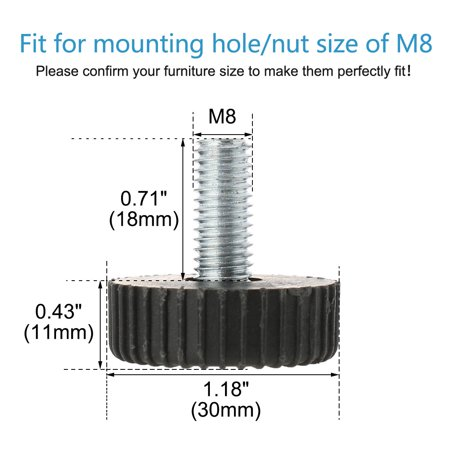 M8 x 18 x 30mm Leveling Feet Adjustable Leveler Protector for Table Leg 12pcs - image 6 of 7