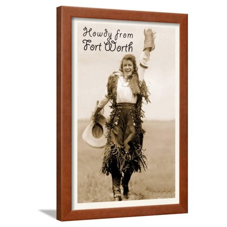 Cowgirl in Chaps, Howdy from Ft. Worth, Texas Framed Print Wall Art](Cowgirl Chaps)