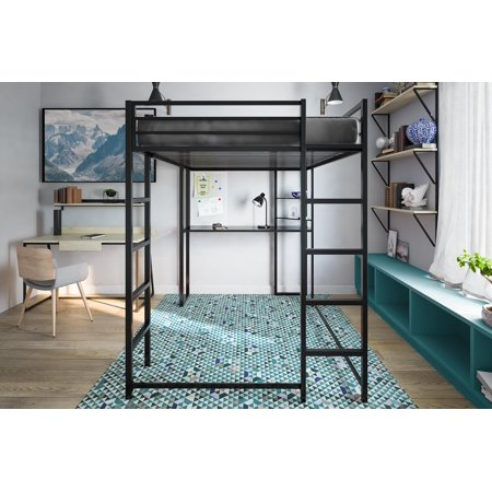 Abode Full Metal Loft Bed over Workstation Desk, Multiple Colors - Black