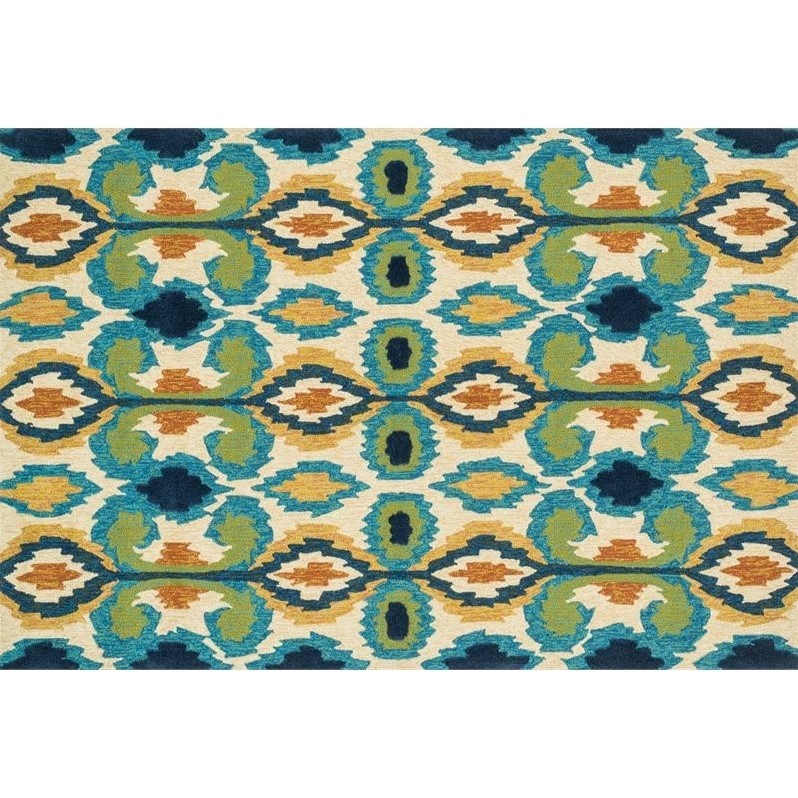 Loloi Enzo Ikat EZ03 Indoor/Outdoor Area Rug - Ivory/Blue