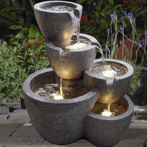 Jeco Inc Resin Fiberglass Multi Pot Fountain With Light Walmart Com Walmart Com