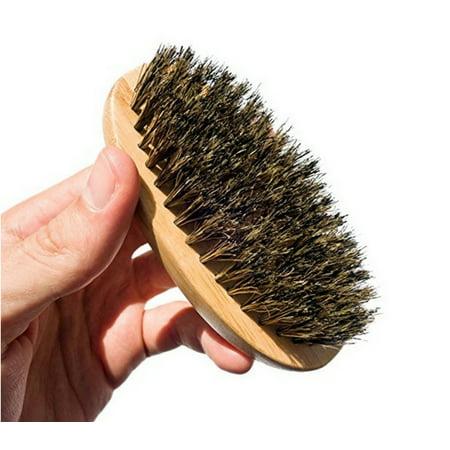 Handle Beard Brush - PaZinger Men Boar Hair Bristle Beard Mustache Brush Palm Soft Round Wood Handle