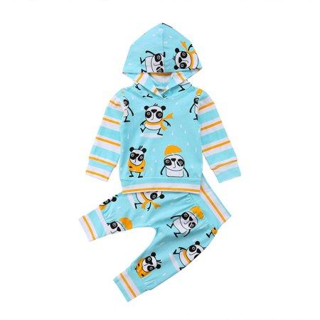 8d0bda97e 2Pcs Hooded Clothes Set Toddler Baby Boys Girls Long Sleeve Top Hooded T  shirt Panda Print Pants Outfits