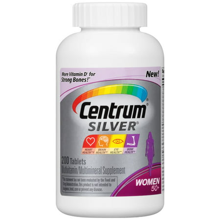 Centrum Silver Women Multivitamin   Multimineral Supplement Tablet  Vitamin D3  200 Count   Package May Vary