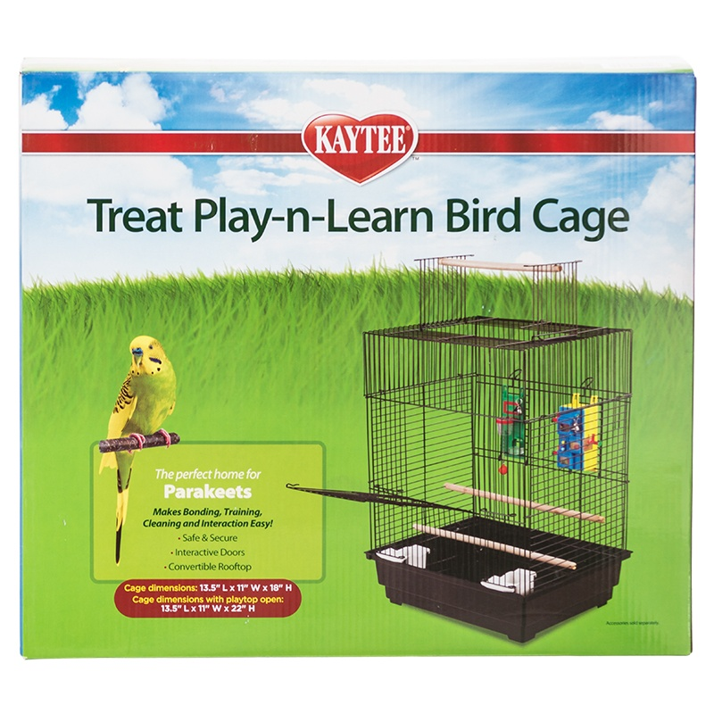 "Kaytee Treat Play-n-Learn Parakeet Cage 1 Pack - 13.5""L x 11""W x 18""H (22"" with Playtop Open)"
