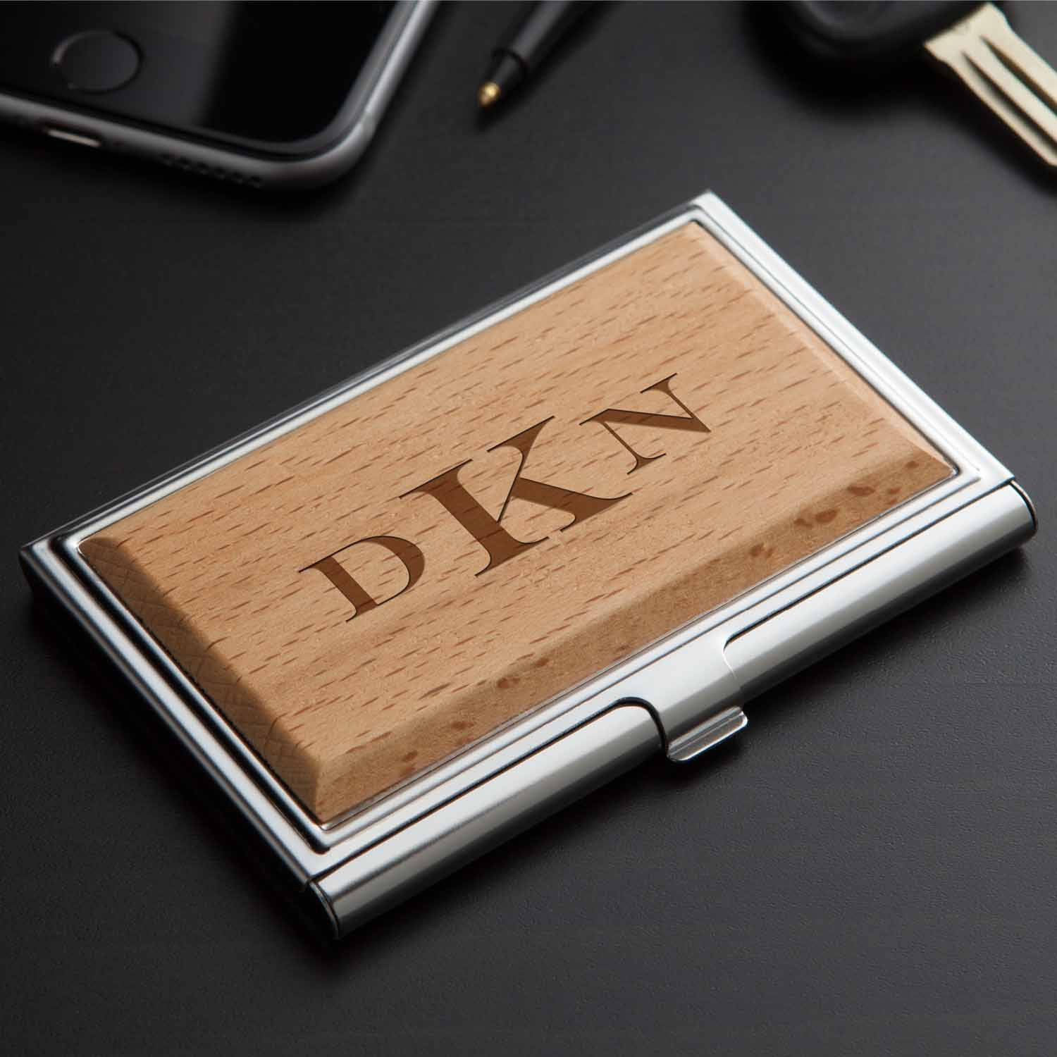 Personalized Wood Business Card Case, Block Monogram