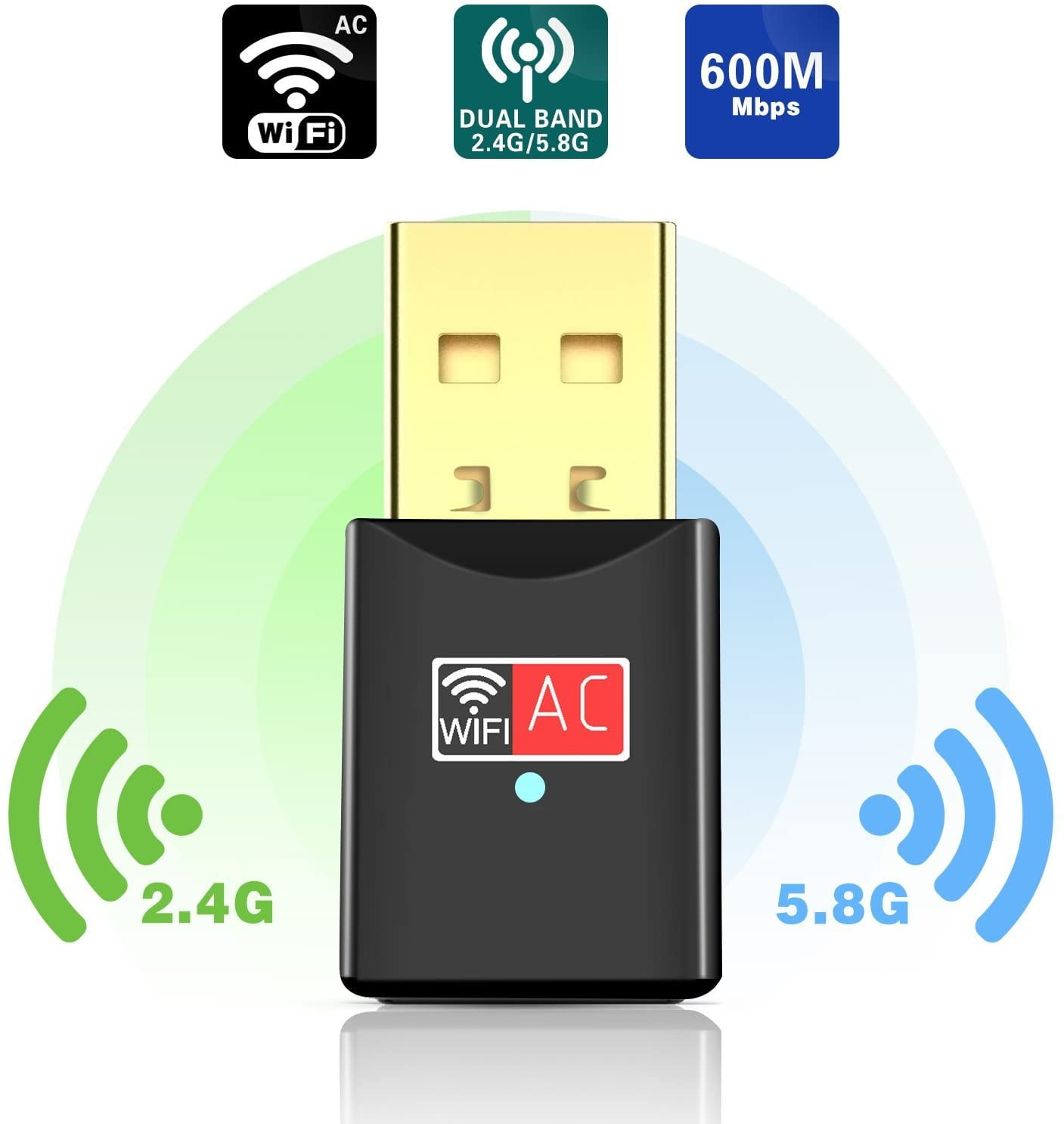 POCFGST USB Wifi Adapter 600Mbps Dual Band 2.4G/5G Mini Wi-fi Wireless Network Dongle Adapter with High Gain Antenna For Desktop Laptop PC Support Windows XP Vista/7/8/8.1/10 Mac OS X 10.4-10.12