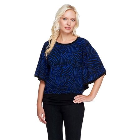- Susan Graver Printed Sweater Knit Dolman Slv Scarf Top A257098