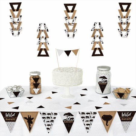 Wild Safari - Triangle African Jungle Adventure Birthday Party or Baby Shower Decoration Kit - 72 Piece (Jungle Parties)