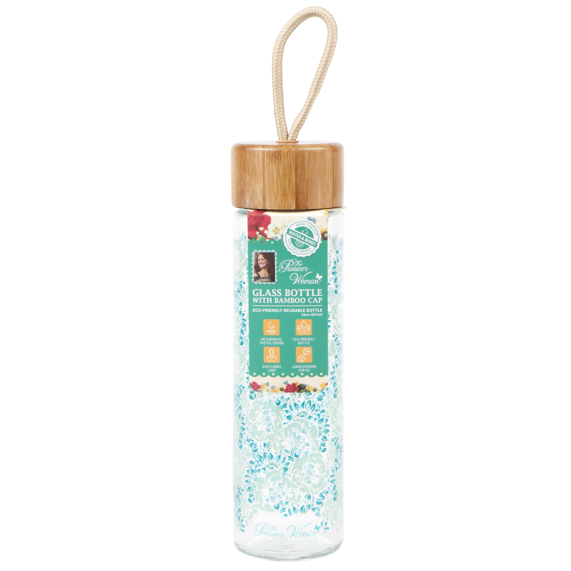 The Pioneer Woman 20 Ounce Teal Floral Print Glass Water Bottle with Bamboo  Cap