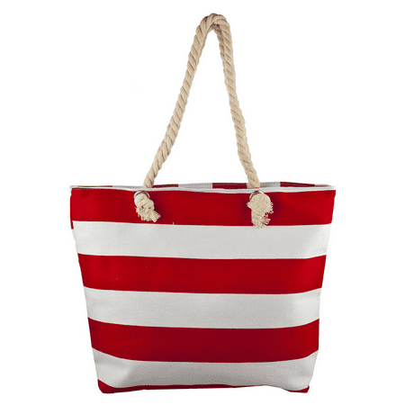 Lux Accessories Red and White Large Stripe Nautical Patriotic Beach Bag Tote Deluxe Beach Tote Bag