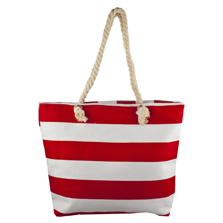 - Lux Accessories Red and White Large Stripe Nautical Patriotic Beach Bag Tote