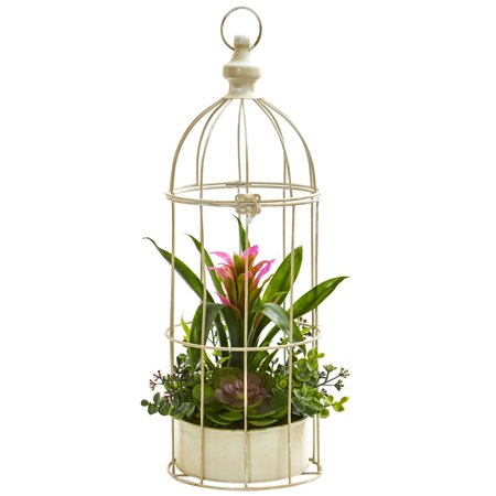 Nearly Natural 19 In. Bromeliad & Succulent Artificial Arrangement in Bird Cage
