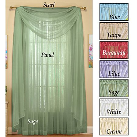 Chocolate Window Curtain (Sheer Window Scarf Curtain Chocolate )