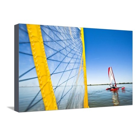Sailing the Hobie Mirage Adventure Island Kayak Along the Columbia River Near Pasco, Washington Stretched Canvas Print Wall Art By Ben