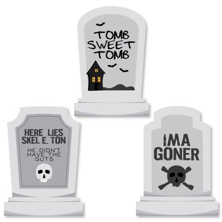 Graveyard Tombstones - Shaped Halloween Party Cut-Outs - 24 Count](Lighting For Halloween Graveyards)