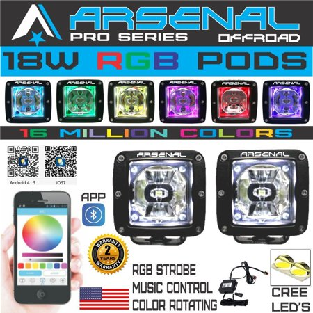 NEW 18W RGB Pro Series 3x3 PODs SPOT Light 2000 Lumens Color Changing App Cotrolled PODS Fogs 4x4 Truck 4wd Suv Tractor Jeep RZR UTV Yamaha