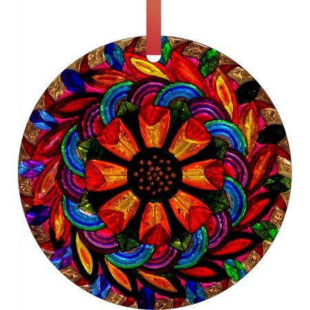 Stained Glass Style Floral Mandala Round Shaped Flat Semigloss Aluminum Christmas Ornament Tree Decoration](Stained Glass Ornaments)