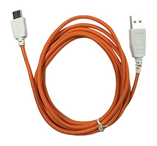 """smavco Power Charging USB Cable Cord Fuhu Nabi DreamTab DMTab Touch Screen HD 8"""" Tablet (Orange Braided, 1 Pack)"""