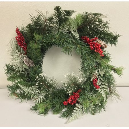 Red Berries and Frosted Fixed Pine 24 Inch Christmas Wreath Handing Decoration Berry Christmas Wreath