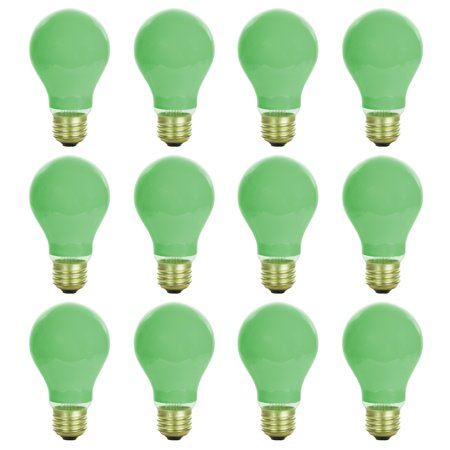12 Pack of Sunlite 40 watt Ceramic Green Colored Incandescent Light Bulb - Parties, Decorative, and Holiday 1,250 Average Life - Water Cooled Lights