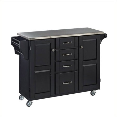 Hawthorne Collections Stainless Steel Top Kitchen Island Cart in Black