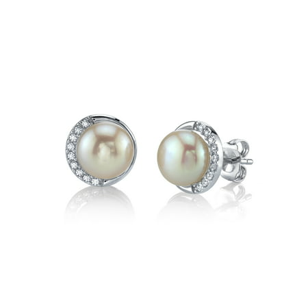 White Freshwater Cultured Pearl & Crystal Harley Earrings for Women Crystal Cultured Pearl Earrings