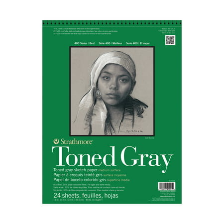 Strathmore Toned Sketch Paper Pad, 400 Series, 11in x 14inin, 24 Sheets, Gray (Strathmore Drawing 11x14)