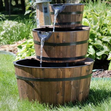 Sunnydaze 3-Tier Wood Barrel Water Fountain, Outdoor Patio and Backyard Waterfall Feature, Rustic, 30 Inch ()