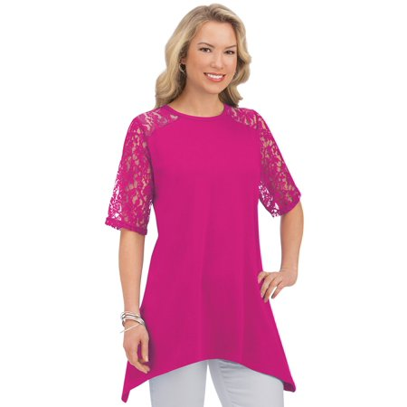 Women's Lace Trim Short-Sleeve Cotton Tunic Top with Sharkbite Hem