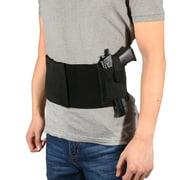 Tbest Belly Pistol Holster, Concealed Belly Holster,Soft Black Elastic Slim Concealed Carry Belly Gun Pistol Holster Waist Band Belt