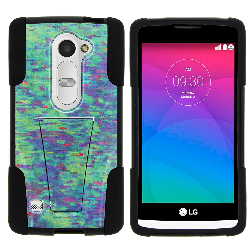 LG Leon C40, LG Tribute 2 LS665, LG Risio, LG Destiny L21G, LG Power L22C, LG Sunset L33L STRIKE IMPACT Dual Layer Shock Absorbing Case with Built-In Kickstand - Lavender Swamp